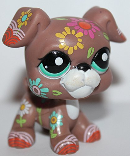 Littlest Pet Shop Boxer (Littlest Pet Shop Boxer #1840 Brown Flower Tattoos Aqua Green Eyes 2007)