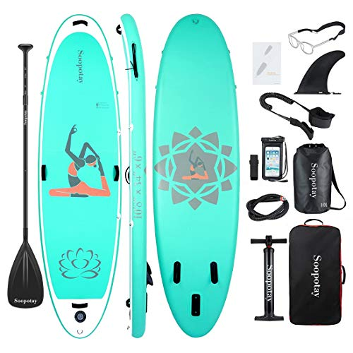 Soopotay Paddle Board, 10'8'' Inflatable Stand Up Paddle Board, Yoga Inflatable SUP 10'8'' x 34'' x 6'', iSUP Package with All Accessories (Yoga-Fitness-10'8'' x 34'' x 6'')
