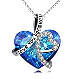 """925 Sterling Silver """"I Love You Forever"""" Love Heart Pendant Necklace with Blue Swarovski Crystals, Jewelry for Women"""