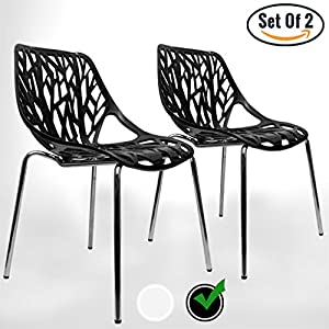 UrbanMod BLACK Modern Dining Chair | (Set of 2) Stackable Birch Sapling Accent Armless Side Chairs