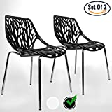 UrbanMod Black Modern Dining Chair | (Set of 2) Stackable Birch Sapling Accent Armless Side Chairs For Sale