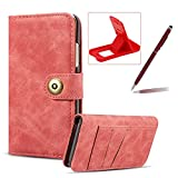 Red Leather Case for iPhone XS/iPhone X,Flip Wallet Cover for iPhone XS/iPhone X,Herzzer Classic Retro Solid Color Design Magnetic Button Closure Multifunction Purse Folio Stand Cover with Card Cash Slot PC Hard Case