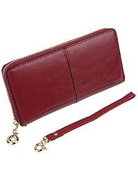 Yaluxe Women's Long Zipper-Around Genuine Leather Wallet Clutch Wristlet Strap Burgundy