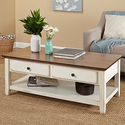 Modern Rustic Chestnut Table Top Cocktail Coffee Table with 2 Drawers and 1 Shelf - Includes Modhaus Living ()