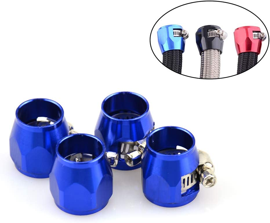 Tasan Racing 4Pcs//Pack Flexible Rubber AN6 Hose Pipe Clamp with Screw Band for Fuel//Oil//Diesel//Gas//Air and Water Hose Tube Blue