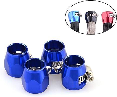 0.63 for 6AN Fuel Hose Pack of 2 Aluminum Hex Hose Finisher Clamp Black Hose OD 16mm