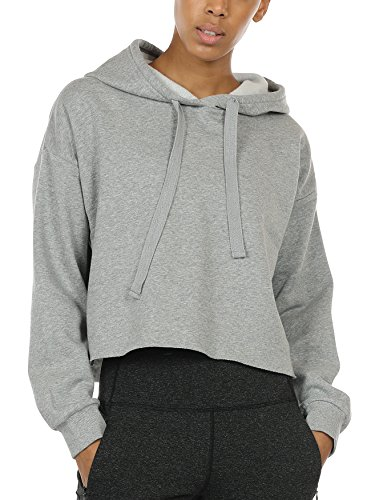 icyzone Workout Sweatshirts for Women - Long Sleeve Crop Top Hoodie Exercise Pullover (XL, Grey Melange)
