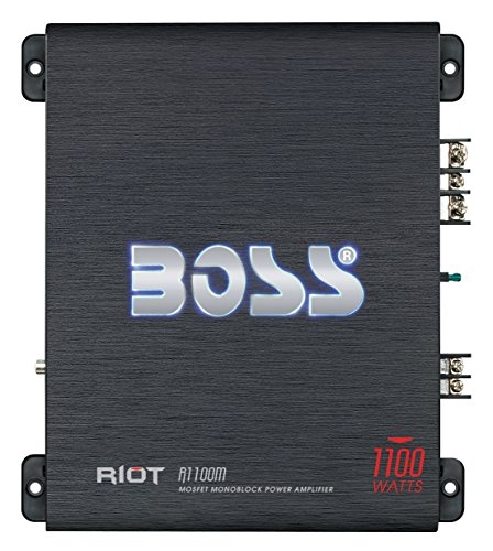 Price comparison product image BOSS Audio R1100M Riot 1100 Watt, 2/4 Ohm Stable Class A/B, Monoblock, Mosfet Car Amplifier with Remote Subwoofer Control