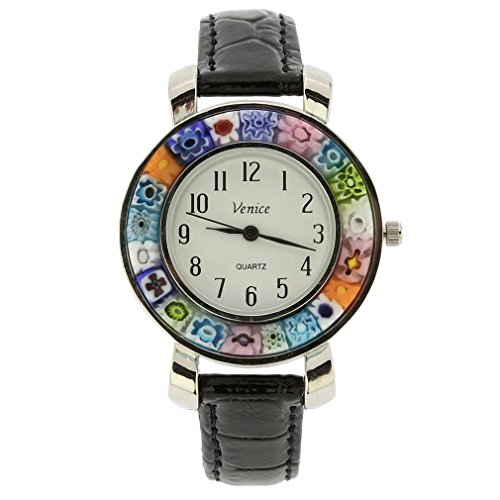 GlassOfVenice Serena Murano Millefiori Watch with Leather Band - Black ()