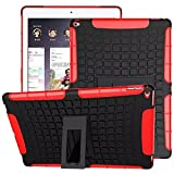 """iPad Pro Case, iCoverCase Heavy Duty Tough Rugged [Dual Layer] Case Back Cover with Built-in Kickstand for Apple iPad Pro 12.9"""" (Red)"""