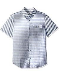 Men's Short Sleeve Digital Dobby Stripe