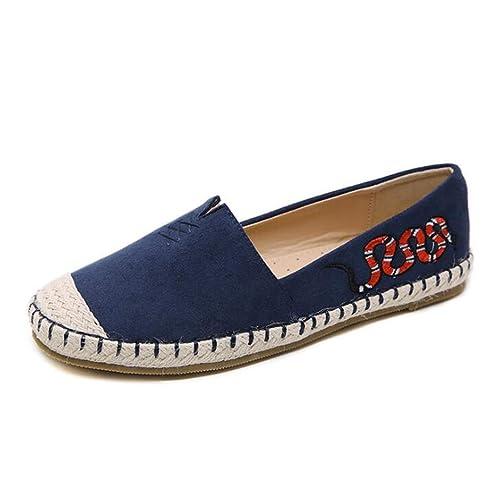mogeek Mocasines para Mujer Zapatillas Slip On Bohemia Zapatos Planos (Azul,35)