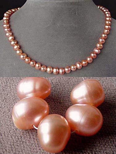 Stunning 'Peach Flambe' AAA Fresh Water Pearl Strand for Jewelry Making 101534 ()