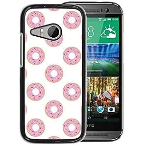 A-type Arte & diseño plástico duro Fundas Cover Cubre Hard Case Cover para HTC ONE MINI 2 / M8 MINI (Doughnut White Pink Sweet Pattern)