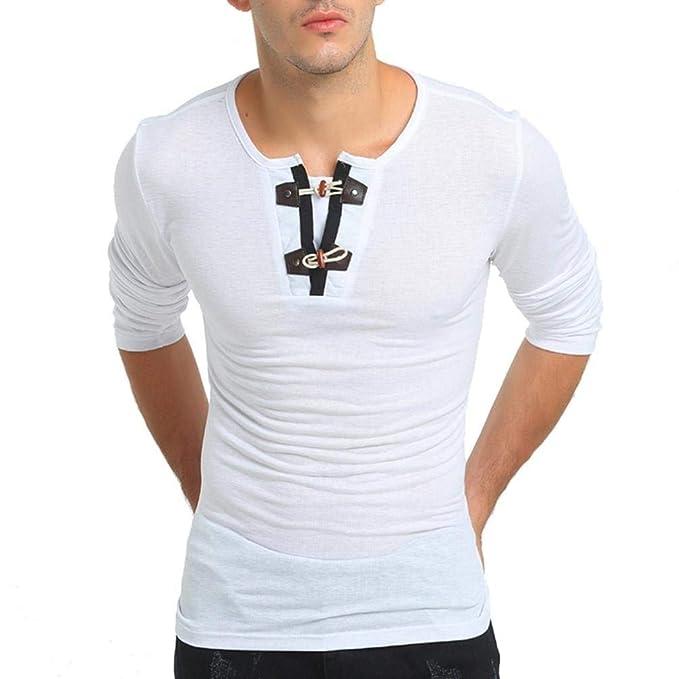 Sport Longsleeve Men Shirt Hombres Pullover Button Slim Fit Hombres Sudaderas Top Blusas Cómodo Top: Amazon.es: Ropa y accesorios