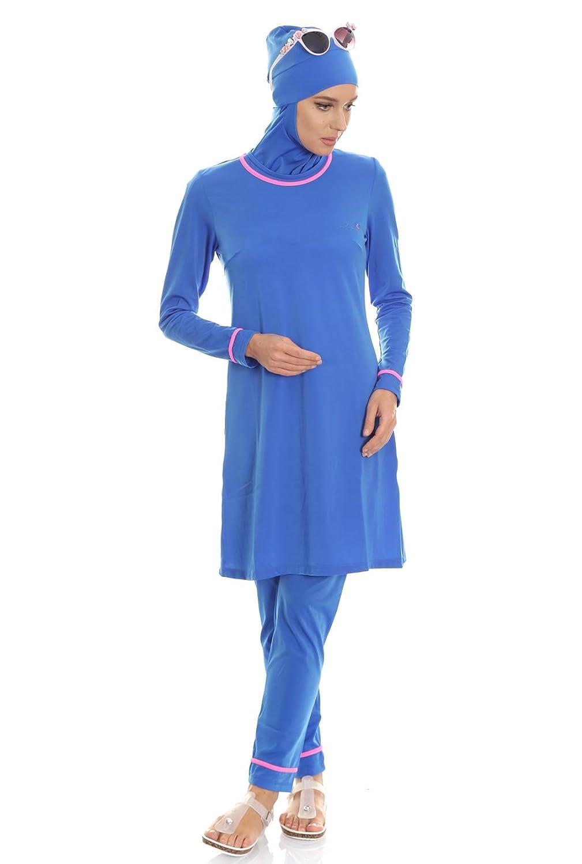 Hasema Damen Badeanzug, moderner Moslem Full Cover Badebekleidung, LangarmBurkini bedeckt bescheiden und Modern, Schutz vor Sonne - auch Übergrößen