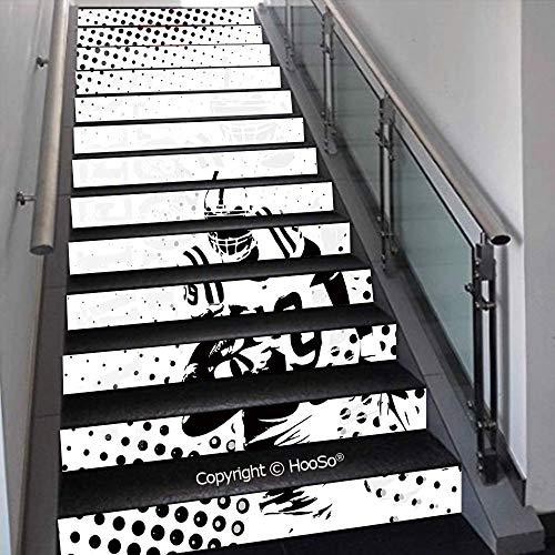 PUTIEN Stair Decals Sticker Stick Stair Risers Sticker Decor for Home, Hotel, Vinyl Staircase Stickers, PVC Stickers,Black Cat Pattern on Orange Background Halloween Witch Pet G,39.3