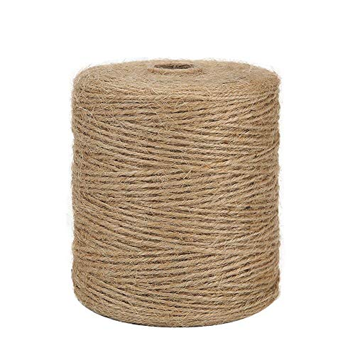 Tenn Well Natural Jute Twine, 3Ply 984Feet Arts and Crafts Jute Rope Industrial Packing Materials Packing String for Gifts, DIY Crafts, Decoration, Bundling, Gardening and Recycling