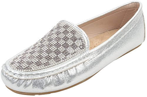 Enimay Women's Classic Casual Dress Fash - Silver Metallic Rhinestone Shoe Shopping Results