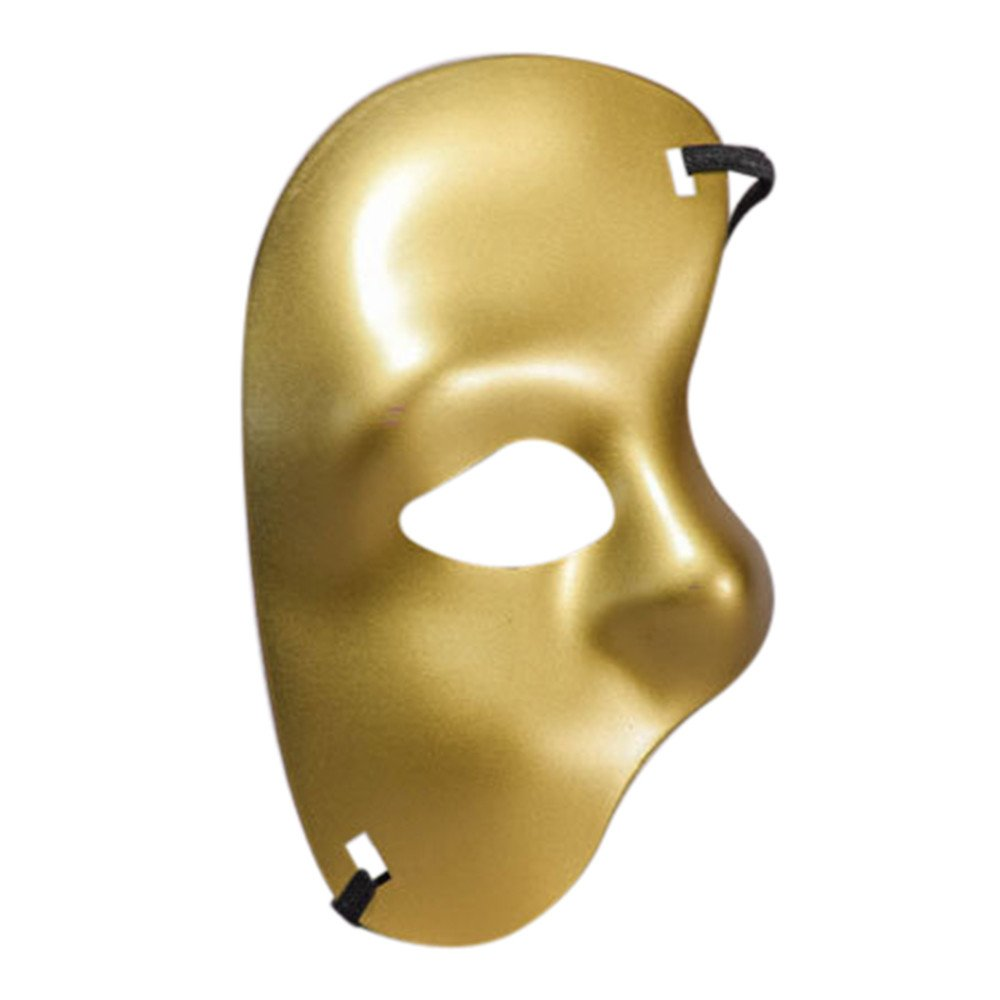 Tuscom Masquerade Half Face Mask,for Halloween Cutout Prom Party Mask Accessories Carnival Decorations (7 Style) (Gold)