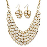 Best Palm Beach Jewelry Statement Necklaces - White Lucite Yellow Gold Tone Bib Necklace Review