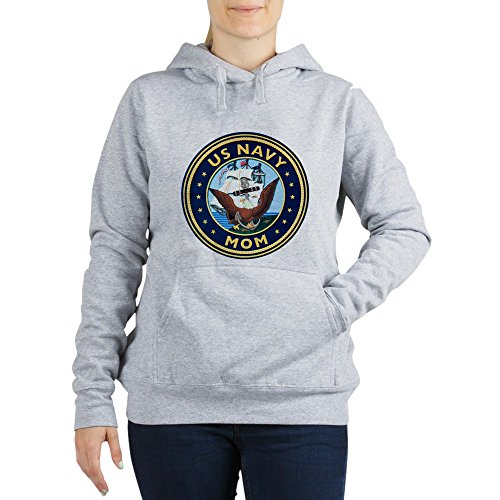 Royal Lion Women's Hooded Sweatshirt US Navy Mom Bald Eagle Anchor Ship - Light Steel, XL (Us Navy Mom Sweatshirt)