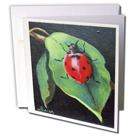 (3dRose Red and Black Spotted Lady Bug on green leaf. - Greeting Cards, 6 x 6 inches, set of 6 (gc_61504_1))