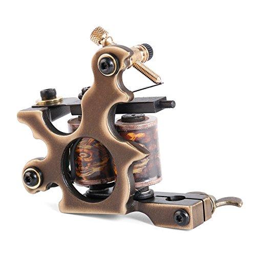 Solong Tattoo Custom Brass Tattoo Machine Gun Handmade 12 Wrap Pure Copper Coils for Shader M206-2