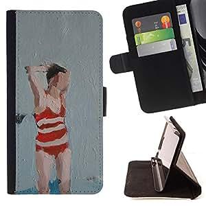 BullDog Case - FOR/Apple Iphone 6 / - / BATHING SUIT WOMAN ART PAINTING RED /- Monedero de cuero de la PU Llevar cubierta de la caja con el ID Credit Card Slots Flip funda de cuer