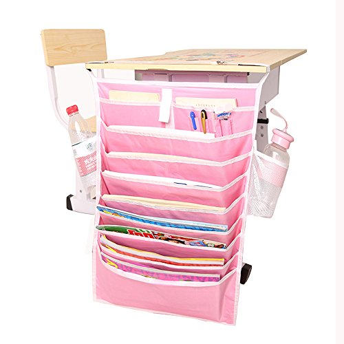 Hanging Book Organizer and Storage Bags Desk Side Hanging Bag Space Saver Oxford File Folders with Pockets Multifunctional (Pink)