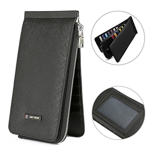 (ANDY GRADE Genuine Leather Multi Credit Card Organizer Wallet for Men and Women with Zipper Pocket Clutch Women's Wallets Money Clip (Black))