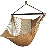 Best Sunshine Large Caribbean Hammock Hanging Chair with Footrest, Large Hammock Net Chair, Polyester (Rice white)