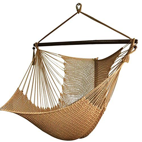 Point Clear Bedroom - Best Sunshine Large Caribbean Hammock Hanging Chair with Footrest, Large Hammock Net Chair, Polyester (Rice white)