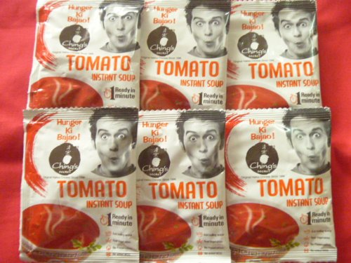 (6 X Ching's Veg Tamato Instant Soup Ready in 1 Minute 15g X 6 Pack)