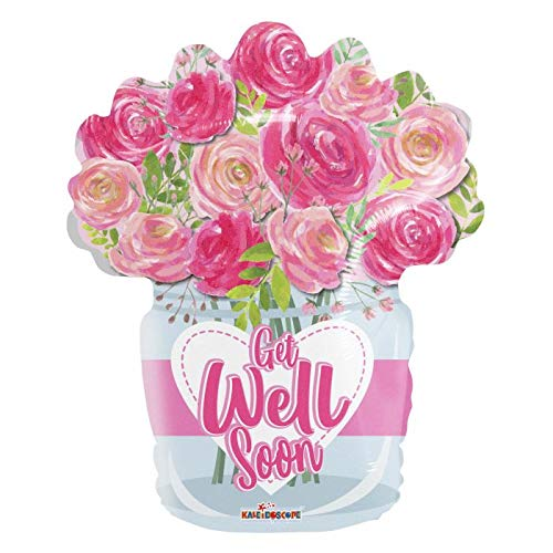 Get Well Soon Pink Flower Bouquet 18'' Mylar Balloon Get Well Soon Birthday Party Decorations Supplies