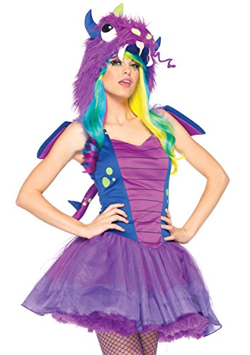 Leg Avenue Women's 3 Piece Darling Dragon Monster Costume, Purple/Blue, X-Small