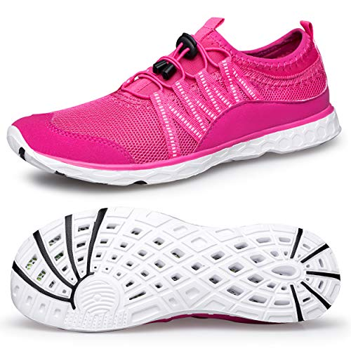 Alibress Quick Drying Water Shoes for Women Quick-Dry Ladies Aqua Shoes for Water Aerobics Breathable Beach Pink Water Sports Shoes for Women 8 M US