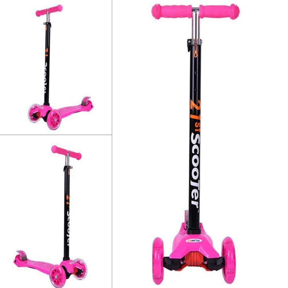 SQCOOL Scooter para niños de 3-14 años de edad, cuatro ruedas Trike Toy Car PU Flash Wheel Size ajustable , B