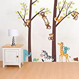 Woodland Arts 3ft x 3ft Jungle Wild Elephant Monkeys Zebra Giraffe Trees Zoo Animal Removable Vinyl Wall Decals Stickers for Children Room Nursery