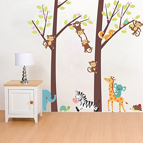 Woodland Arts 3ft x 3ft Jungle Wild Elephant Monkeys Zebra Giraffe Trees Zoo Animal Removable Vinyl Wall Decals Stickers for Children Room Nursery Wild Animals Giraffe