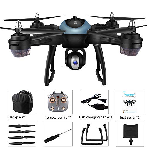 LH-X38G 2.4GHz Dual GPS Wifi FPV 1080P 4CH RC Drone, Air Pressure Setting Aerial Photography Automatic Follow Real-time Transmission Pointing Headless Modes(Above 14 Age),With Backpack (Blue) by Sonmer (Image #9)
