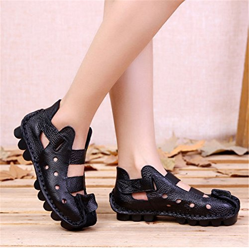 Soft Black Shoes Women's Socofy Hollow Leather Moccasins Flat Breathable Vintage Shoes Slip On women's Loop Fashion Loafer Hool Sandals 1HcaUwq