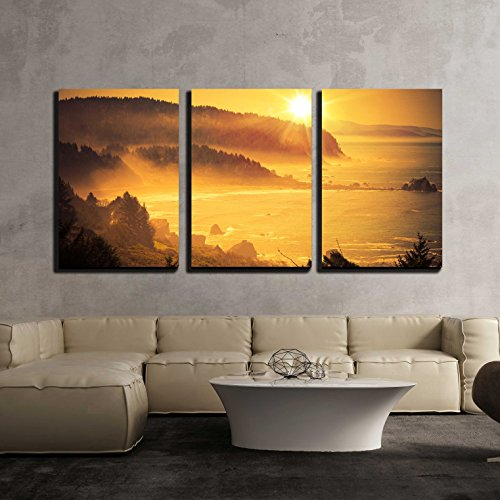 - wall26 - 3 Piece Canvas Wall Art - California Coastal Sunset. Shoreline Between Crescent City - Modern Home Decor Stretched and Framed Ready to Hang - 16