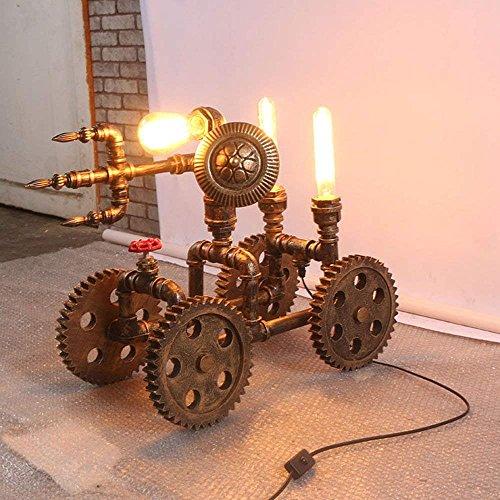 SED Lampara de Lectura Ideal- Retro Creativo Rueda de Tubo de Agua Antigua lampara de Mesa de Hierro Decorativa Mesa de Centro salon Loft Bar de Engranajes industriales Tienda de Mesa de la lampara