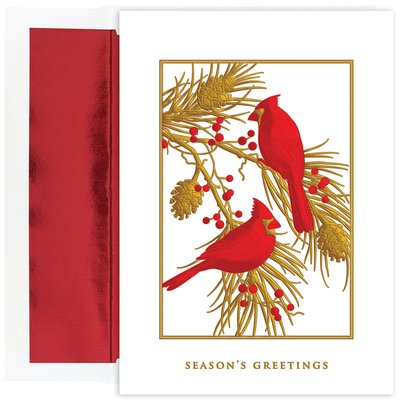 Masterpiece Studios Stationery - Masterpiece Studios Cardinals with Red Foil Boxed Holiday Cards, Set of 18