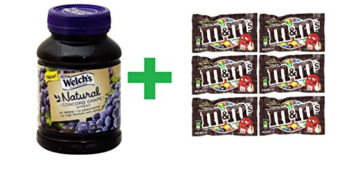 Welch's Natural Concord Grape Spread 27 OZ (Pack of 8) + (6 Pack of M&M Milk Chocolate 1.69oz) (Welch Natural Grape Jelly compare prices)