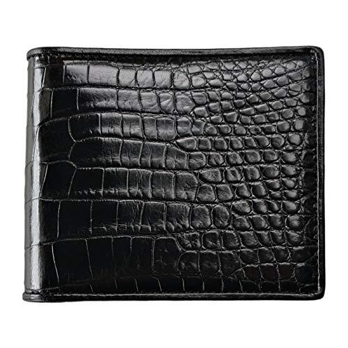 CHERRY CHICK Men's Luxury Crocodile Skin Wallet Genuine Alligator Leather Billfold Hot Gift (Black-Belly-Horizontal)