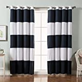 Cheap Best Home Fashion Rugby Stripe Cotton Blend Blackout Curtains –  Stainless Steel Nickel Grommet Top – Navy – 52″W x 84″L – (Set of 2 Panels)