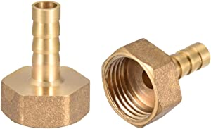 uxcell Brass Hose Barb Fitting Connector, 8mm Barb G1/2 Female Thread Pipe Adapter, 2Pcs