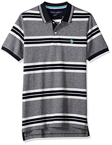 U.S. Polo Assn. Men's Short Sleeve Classic Fit Striped Pique Polo Shirt, Black Kjbk, (Classic Striped Striped Polo Shirt)